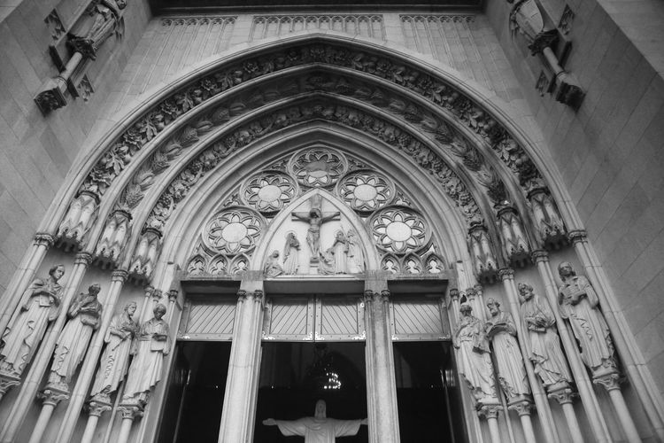 Low angle view of ornate entrance of building