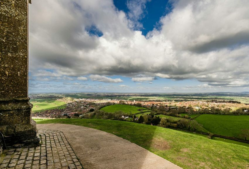 Glastonbury Landscape England Traveling Great Views Clouds And Sky