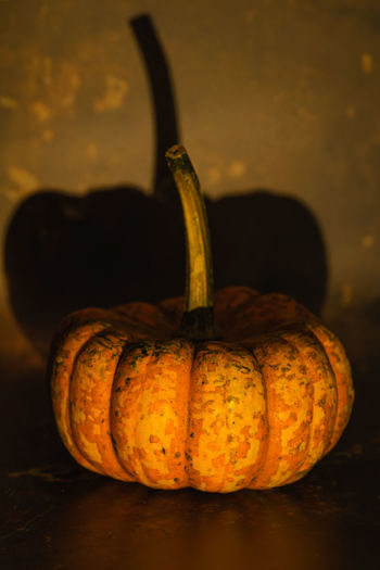 Close-up of pumpkin against black background