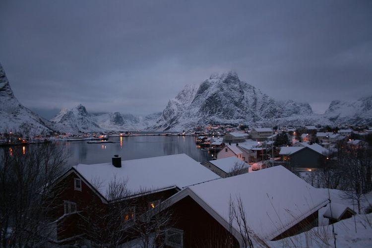 Cold Temperature Lofoten Nature Norway Reine Snow Tranquil Scene Water Winter