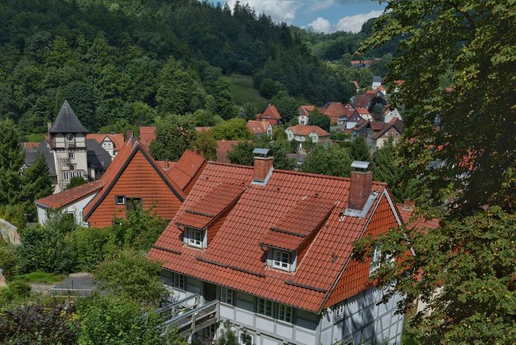 Visiting Bad Grund, a village in Lower Saxony, Germany Architecture Roof Building Exterior Built Structure High Angle View Tree House No People Outdoors Day Tiled Roof  Red Sky Nature Bad Grund Niedersachsen Village Life Harz Bilder Harzreise Harz Im Sommer