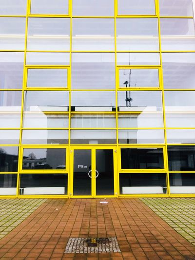 Built Structure Yellow Architecture No People Communication Day Building Exterior Street Transportation Wall - Building Feature Sign Absence Text Security Safety Empty Nature Seat Footpath Outdoors