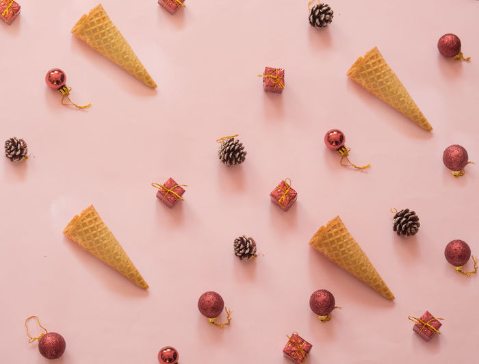 Pink Background Christmas Decoration Cone Food And Drink Ice Cream Still Life Summer Summer Christmas Sweet Food