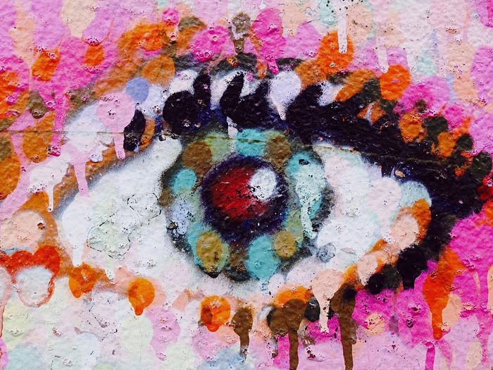 David Bowie's eye. By Jimmy C. Jimmy C Multi Colored Art And Craft Creativity Full Frame Backgrounds Paint No People Wall - Building Feature Indoors  Paintings Textured  Messy High Angle View Variation Craft Abstract Pattern Close-up Choice Splattered