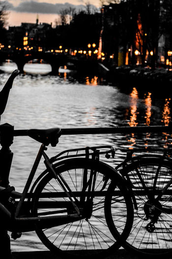 Winter Wintertime Reflection Reflections In The Water Amsterdam Amsterdamcity Canal Bike Transportation Bicycle Street Outdoors No People Rainy Season Rain Focus On Foreground Illuminated Lights Lights In The Dark Glowing Scadoxus