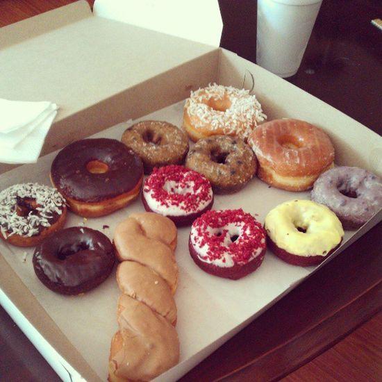 Donuts Donuts Donuts. #Kellys #dozen #redvelvet #chocolate #lemon #blueberry #coconut #donuts #instagood Chocolate Blueberry Coconut Lemon Donuts Instagood Kellys Dozen Redvelvet