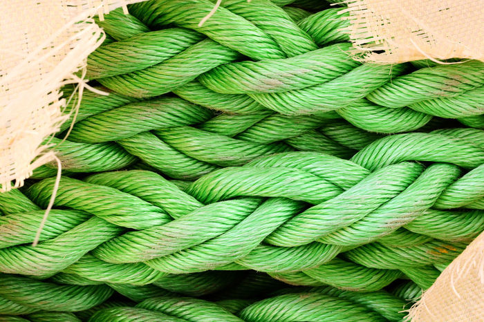 Green Hawser Rope Close-up Lashing No People Ship Towrope Vessel