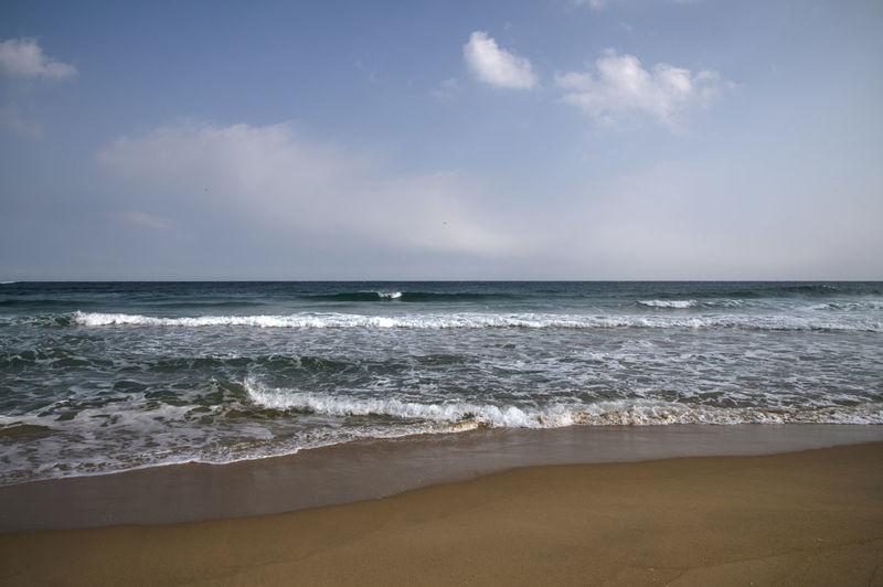 Hwajinpo Beach in Goseong, Gangwondo, South Korea Beach Land Water Beauty In Nature Outdoors Hwajinpo Beach Winter Beach Winter Sea Tranquil Scene Naturelovers Natur's Beauty Sea Sky Horizon Horizon Over Water Motion Sport Wave Aquatic Sport Cloud - Sky Scenics - Nature Surfing Nature Sand