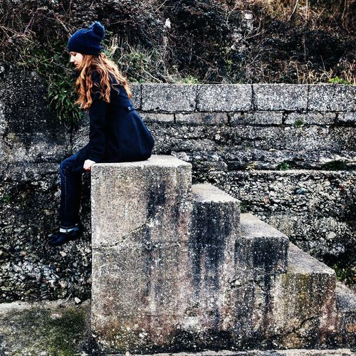 Close To The Ground Decisions End Of Road Girl Lifestyles Outdoors Stairs Thoughtful