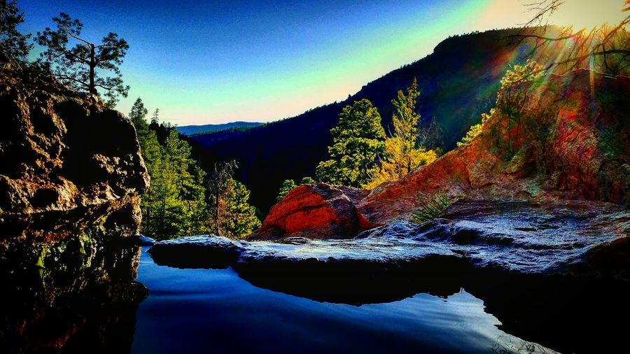 Spence Hot Springs Hotspring Hot Springs Natural Spring Mountain Mountain View Canyon Art Creativity Cliffside Pool Pinetrees Hanging Out Taking Photos Check This Out Relaxing Enjoying Life Landscape_Collection Showcase: April Beautiful Nature Sky Perspective Desert Beauty