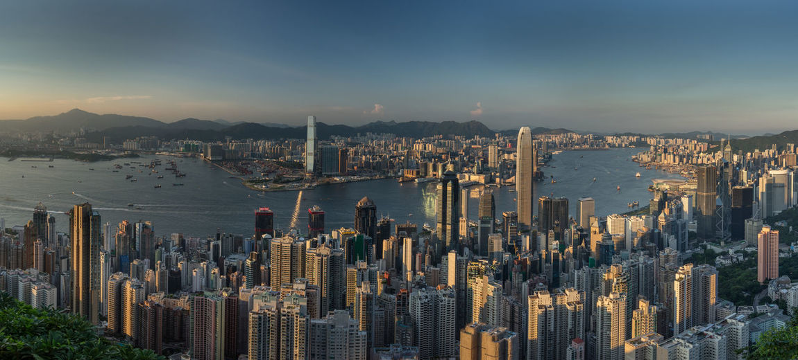 Hong Kong skyline, seen from the peak Architecture Capital Cities  City Cityscape Daylight High Angle View Hong Kong Skyline Office Building Panorama Skyscraper Travel Destinations Urban Skyline Full Frame