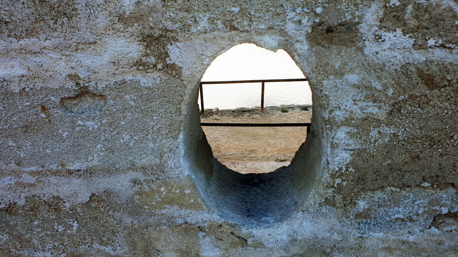 Close-up of hole in wall