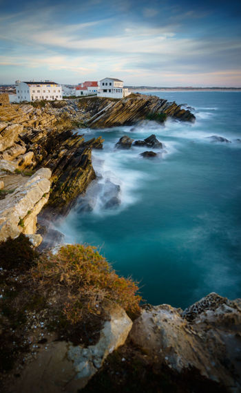 On the Rocks Atlantic Ocean Baleal Beauty In Nature Cloud - Sky Coastline Geology Horizon Over Water Houses Idyllic Nature Peniche, Portugal Rock Rock - Object Rock Formation Rocky Coastline Scenics Sea Seascape Shore Sky Tourism Tranquil Scene Travel Destinations Vacations Water