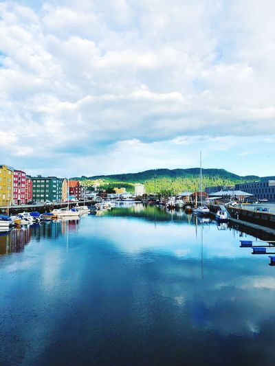 Early morning Blue Sky Blue Blue Hour Trondheim Norway EyeEm Selects Cloud - Sky Water Sky Architecture Reflection Building Exterior City Nature No People Building Beauty In Nature Outdoors Day
