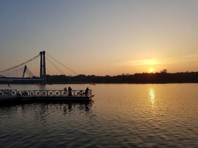 Sunset view at Putrajaya lake. Sunset Dusk Landscape Lake View Waterfront