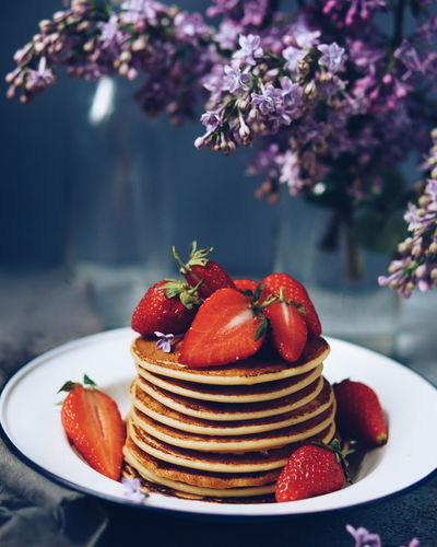 pancakes with strawberry topping EyeEm Selects Food Stories Strawberry Sweet Food Fruit Dessert Sugar Food Cake Close-up Flower Summer No People Ready-to-eat Freshness Day Fresh On Market 2018