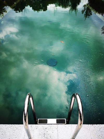 High angle view of swimming pool in lake