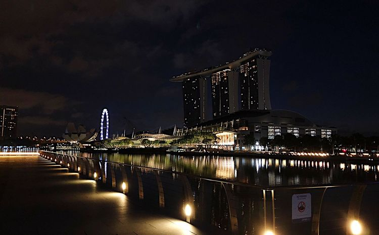 Singapore View Night Night Illuminated Built Structure Architecture Water Building Exterior Sky Reflection City No People Nature Outdoors Travel Destinations Transportation Building Waterfront Industry Office Building Exterior River Skyscraper
