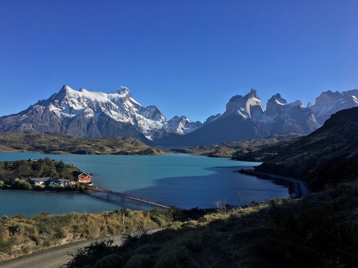 EyeEmNewHere Torres Del Paine Mountain Scenics - Nature Water Beauty In Nature Sky Mountain Range Tranquil Scene Snowcapped Mountain Lake Blue Clear Sky Environment Mountain Peak
