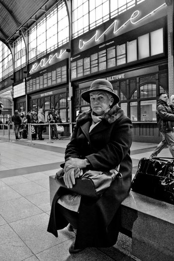 When I was... One Person Real People People Adult Portrait Time Past Women Monochrome Photography Woman In Hat Railway Station History Waiting Close Portrait