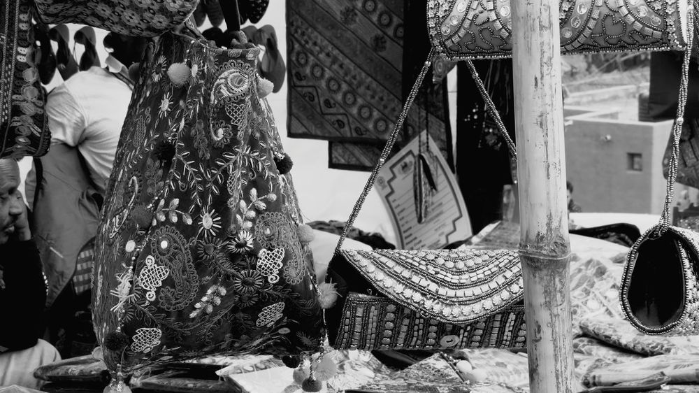 Textile Multi Colored Outdoors Hello World Love To Take Photos ❤ From My Point Of View EyeEm Best Shots Eyeem Popular Photos No People EyeEm Diversity Black And White Collection  Fashion Forever Fashion Photography Bnw EyeEm Best Shots - Black + White Black And White Photography Black And White Market Retail  Handbags Handmade Bag Bags Black & White Photography Bnw_captures India Art Is Everywhere