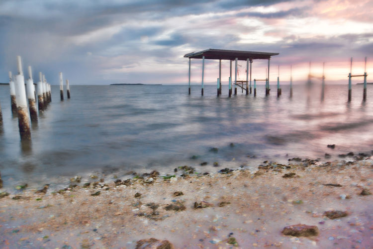 Abandoned Architecture Beach Beach Hut Beauty In Nature Built Structure Cloud - Sky Day Gazebo Horizon Over Water Nature No People Outdoors Pvc Pvc Pipe Sand Scenics Sea Shore Sky Tranquil Scene Tranquility Water