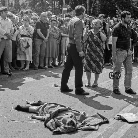 The girl returned from the church to the home. At the pedestrian crossing the truck killed her Accident Cadaver Corpse Crowd Death Death Body Despair Desperation Girl Onlookers Policeman Road Victim Woman The Street Photographer - 2017 EyeEm Awards The Photojournalist - 2017 EyeEm Awards EyeEmNewHere