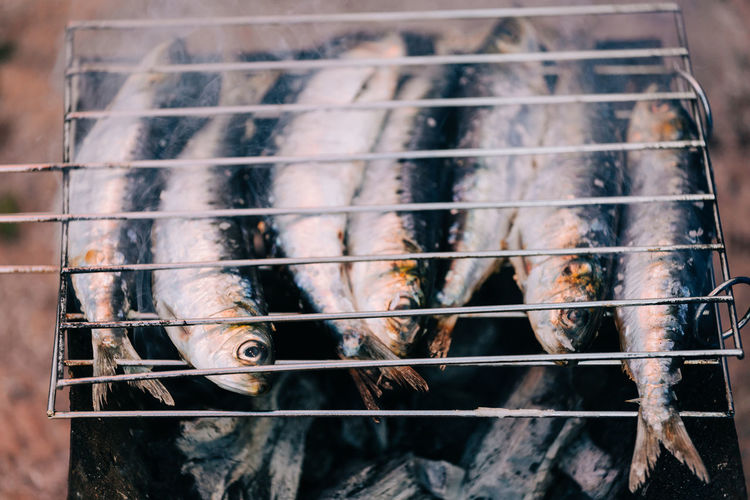 Fishes Grilled In Barbecue