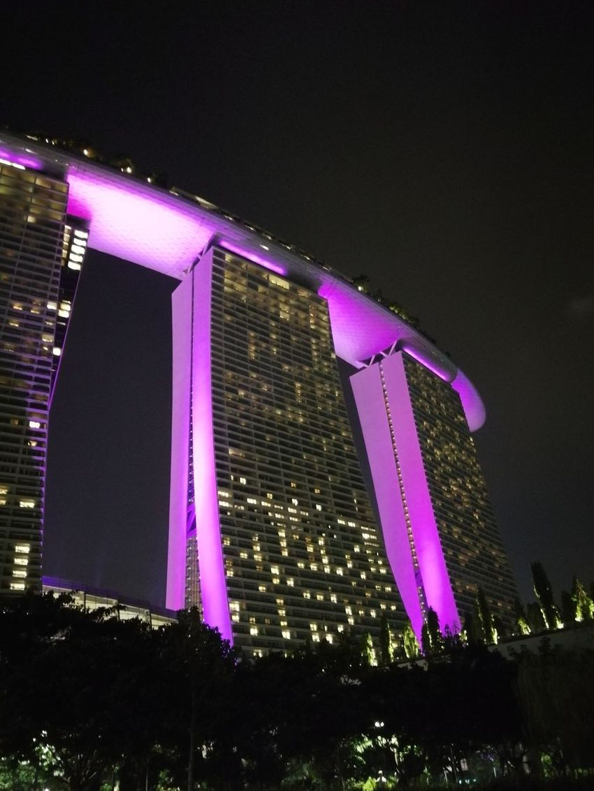 Singapore Singapore View Singapore City Singaporestreetphotography Marina Bay Sands Marina Bay Sands Hotel Marina Singapore Marina Night Illuminated Built Structure Purple Building Exterior Outdoors Low Angle View Celebration City No People Skyscraper Neon Sky Modern Architecture