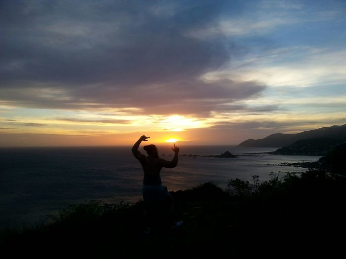 On top of the world Ma, on top of the world. Sunset Wellington  Newzealand Summer Beach Clouds Model Pose Nofilter#noedit