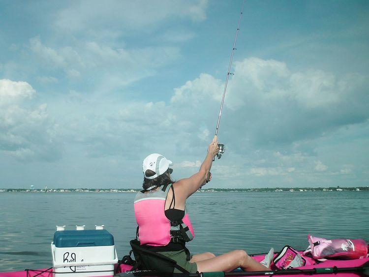 Kayak Fishing Kayaker Fishing Pink Female Adult Sportswoman Florida Life Fisherman Watersports Weekend Warrior Female Kayak Kayaking Weekend Activities Weekend Warriors Florida Fishing People Real People