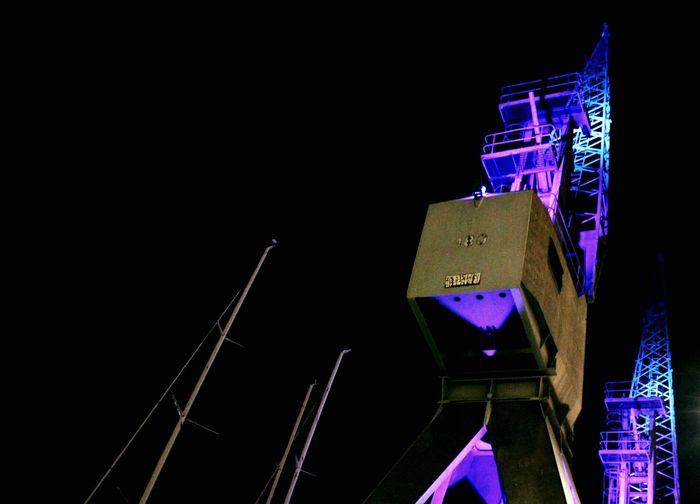 Bigo Gru Harbour Porto Antico,Genova Industrial Industry Illumination Blue Violet Darkness