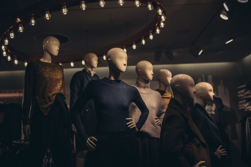 Doll Faceless Consumerism Dolls Fashion Female Likeness Human Representation Indoors  Mannequin Men People Retail  Sculpture Standing Statue Store