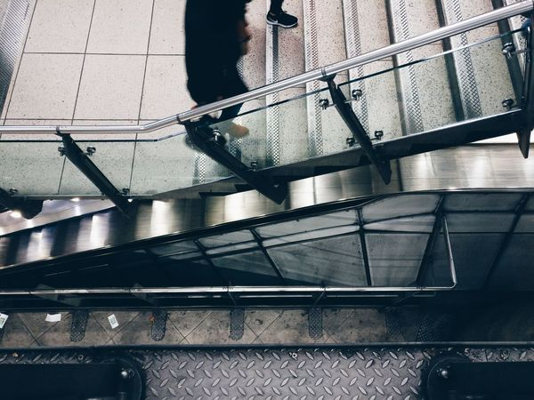 Slow commute. Low Angle View Built Structure Indoors  No People Architecture Close-up Day Commute Transportation Tube Tubestation London Westminster Underground AndroidPhotography Vscocam VSCO Photooftheday EyeEm Travel Busy Top Perspective Top View Top Photography The Street Photographer - 2017 EyeEm Awards