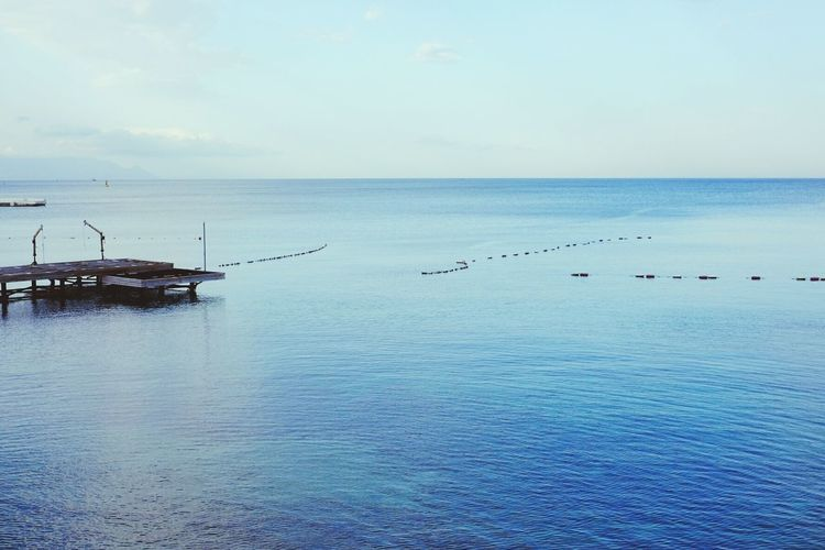Horizon Over Water Bule Silent Travel Photography Wide Water Sae Clear Turkey Aegean Sea Kusadasi