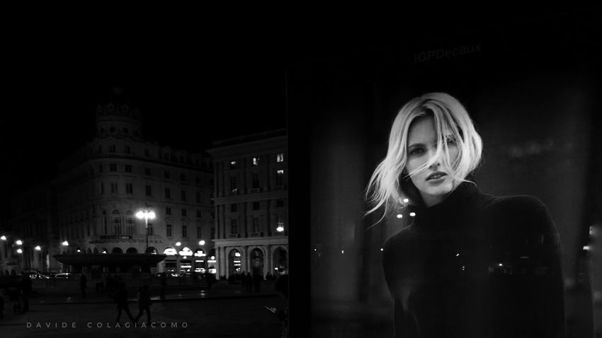 a street portrait Blond Hair Real People Night One Person Women Illuminated Portrait One Woman Only Outdoors Town Square Streetphotography Street Photography Streetphoto_bw Street Fashion