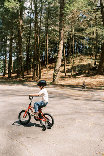 Man riding bicycle on road amidst trees