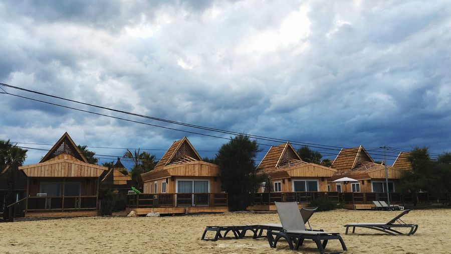 Beach Huts at Pampelonne Beach Huts Beach Cloud - Sky Architecture Sky Built Structure Building Exterior Building Nature No People House Outdoors Bench Chair