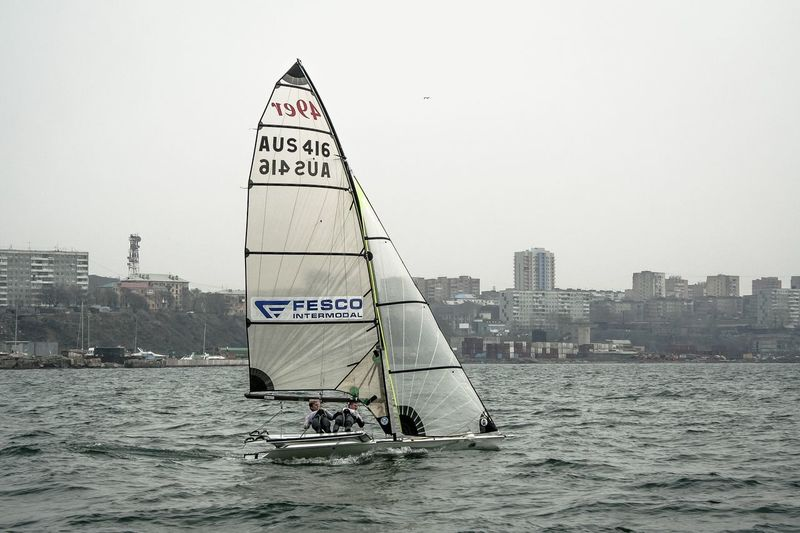 The sport sailing by windy May Day Adventure Club Building Sailboat Sailing Sail Seascape Sea Seaside Seacoast Sport Waves Sailer Sport Speed Man Bay Wind