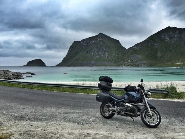 Rider Bmwr850r Beach Nature Lofoten Islands Lofoten Norway