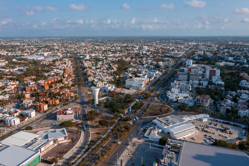 Mexican narow sreets. aerial view.