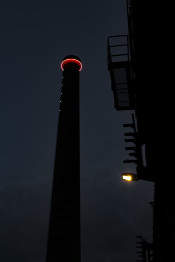 Industriepark 3 Industry Old Buildings Black And White Photography Contrast And Lights Strong Up And Down Rusty Zeche Turm Schornstein Twilight Dark Blue Sky Two Lights Lighthouse Balcony Architecture Tower Night Illuminated No People Tall - High Red Architectural Column Low Angle View