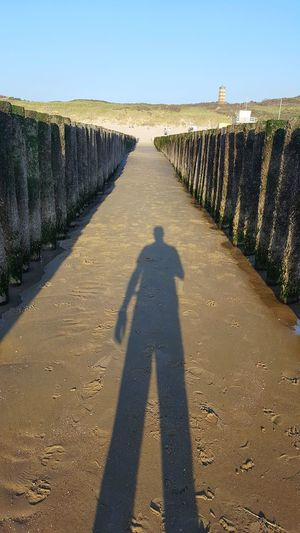 Shadow Focus On Shadow Sunlight Outdoors Day Adult People Clear Sky Adults Only Sky Nature One Person Beach Perspective Tall Distortion One Man Only
