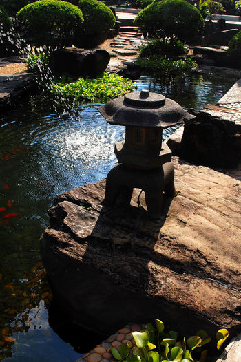 Pond Japanese Garden Lantern Stone Lantern Japanese Culture Sampa Brazil Brasil Light And Shadow Garden Water Shadow Outdoors Reflection No People Sunlight Day Landscape Beauty In Nature Nature