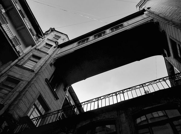 Architecture Built Structure Low Angle View City Building Exterior Sky No People Skyscraper Bridge Building Outdoors Day Blackandwhite Black And White