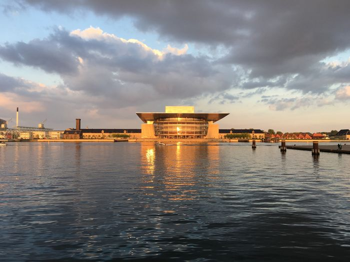Sky Cloud - Sky Water Architecture Built Structure Sunset Waterfront Building Exterior Travel Destinations Copenhagen, Denmark No People Outdoors Nature Sea Beauty In Nature Day Rippled Frainf Opera House Your Ticket To Europe