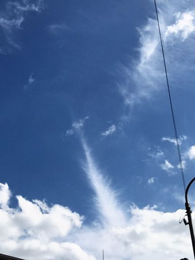 Sky Cloud - Sky Low Angle View Cable Day Outdoors Nature No People Blue Beauty In Nature