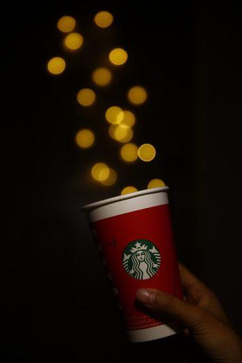 Starbucks Human Hand Drink Celebration Human Body Part Studio Shot Black Background Drinking Glass