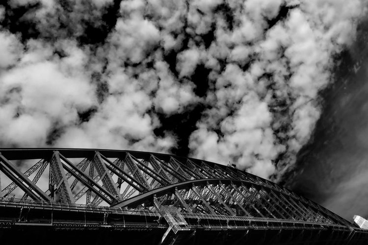Sydney New South Wales  Harbour Bridge Built Structure Sky Architecture Cloud - Sky Bridge No People Transportation Low Angle View Bridge - Man Made Structure Metal Travel Destinations High Section Arch Bridge Travel Cumulus Cloud Black And White Monochrome High Contrast Infra Red The Architect - 2019 EyeEm Awards