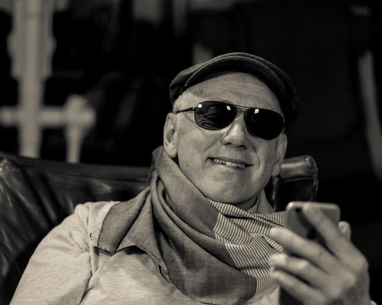 The Secret Life Of Don Giancarlo (Series of Selfies; Hat, Cap, Scarf, Eyeglasses, sunglasses, Mobile Phone, three point lighting, Pentax K-1 on tripod remote control via Smartphone App) Acting Hat Old Man Sitting Storytelling Acting Crazy Expressions Feelings Focus On Foreground Scarf Selfie Series Sunglass